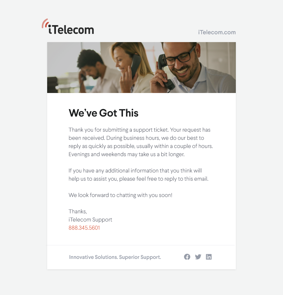 02 Support Email – iTelecom