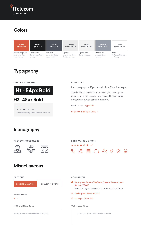 Telecom website style guide